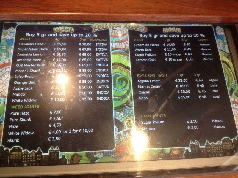 Abraxas menus from Ams...