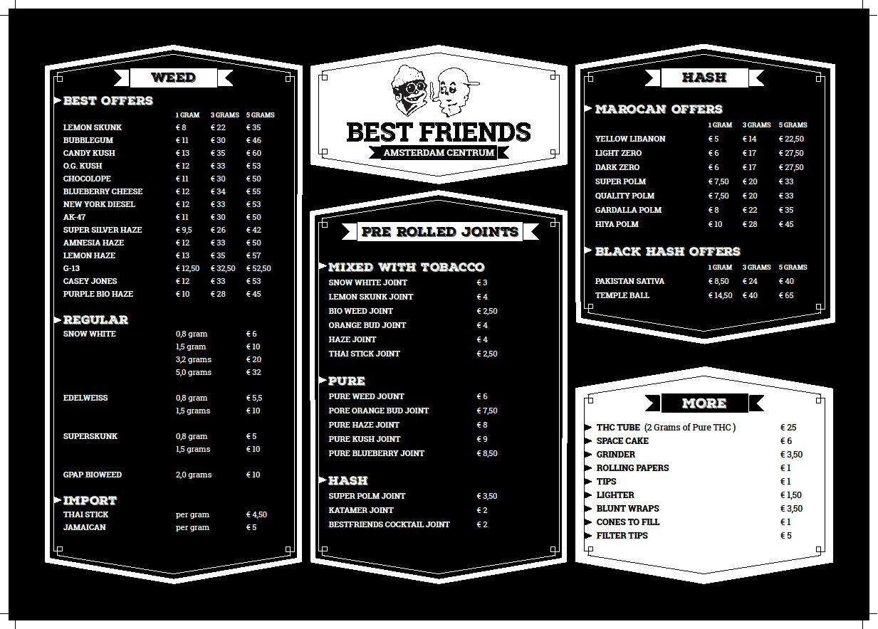 Best Coffee Shop Menus Amsterdam